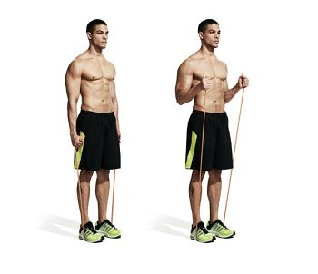 Standing Biceps Curl with Strength Bands