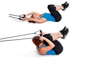 resistance band crunches