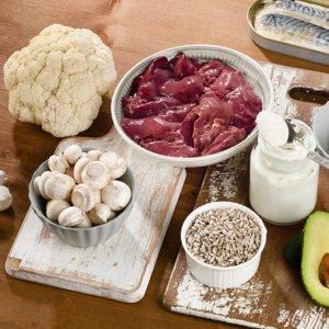 Foods Highest In Vitamin B5 (pantothenic Acid) On Wooden Backgro